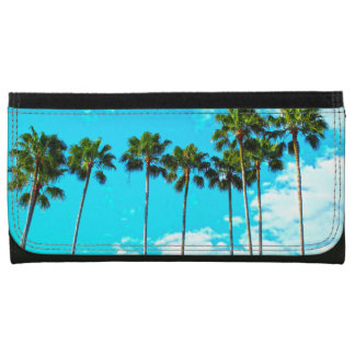Cool Tropical Palm Trees Blue Sky Leather Wallet