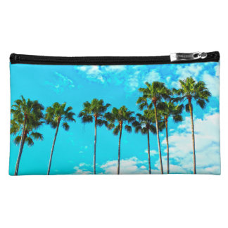 Cool Tropical Palm Trees Blue Sky Makeup Bag