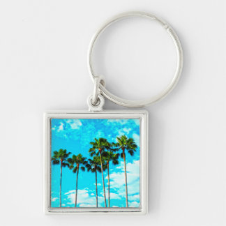 Cool Tropical Palm Trees Blue Sky Silver-Colored Square Keychain