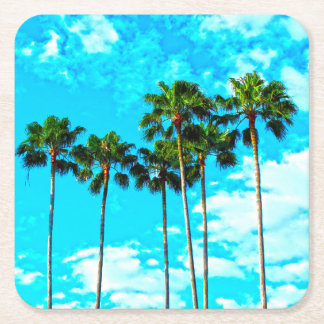 Cool Tropical Palm Trees Blue Sky Square Paper Coaster