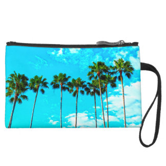 Cool Tropical Palm Trees Blue Sky Suede Wristlet