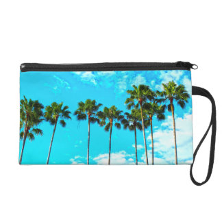 Cool Tropical Palm Trees Blue Sky Wristlet Clutches