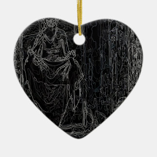 Cool Tshirt Ceramic Heart Ornament