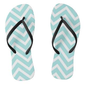 Cool Turquoise Chevron Pattern Flip Flops