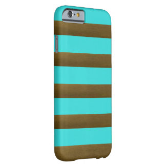Cool Turquoise Copper Striped Barely There iPhone 6 Case