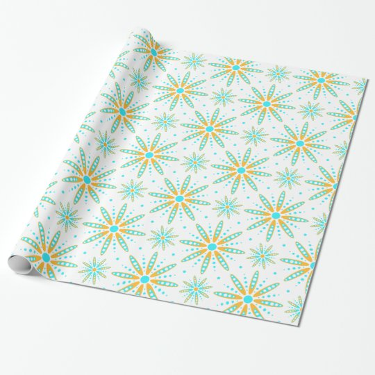 Cool turquoise orange winter snowflakes pattern wrapping paper