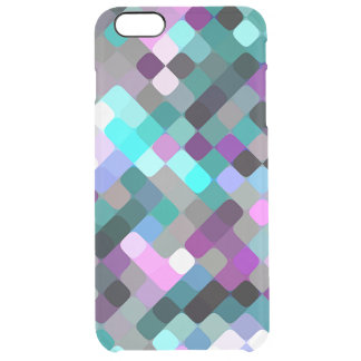 Cool Turquoise Purple Retro Round Squares Pattern Clear iPhone 6 Plus Case
