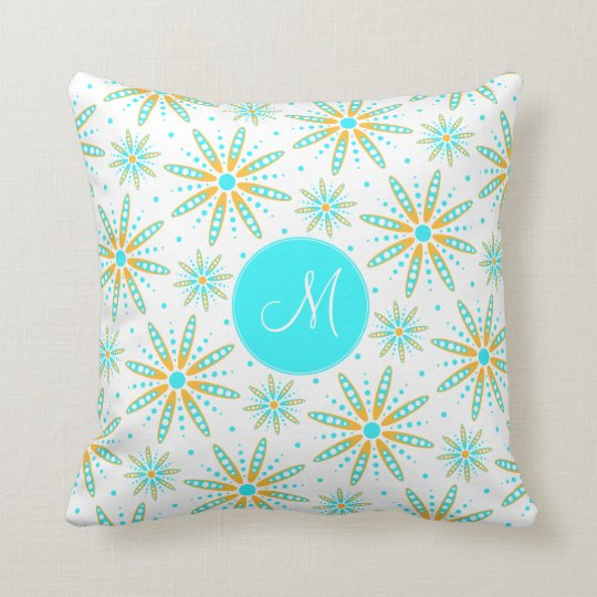 Cool turquoise winter snowflakes monogrammed throw pillow