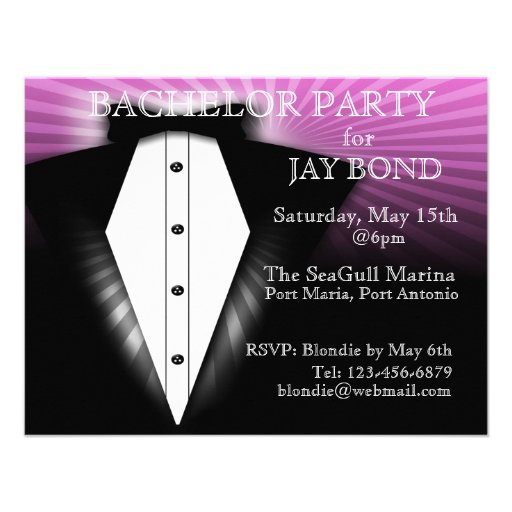 Cool Tuxedo Bachelor Party Cool Invitation