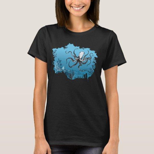 Cool Underwater Octopus Cave Graphic Design Shirt