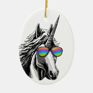 Cool unicorn with rainbow sunglass ceramic ornament