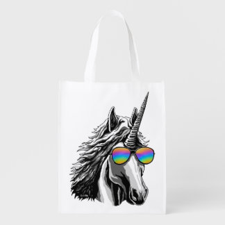 Cool unicorn with rainbow sunglass reusable grocery bag