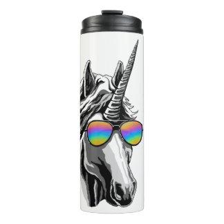 Cool unicorn with rainbow sunglass thermal tumbler