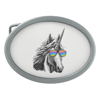 Cool unicorn with rainbow sunglasses belt buckle