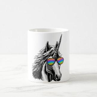 Cool unicorn with rainbow sunglasses coffee mug