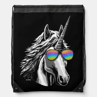 Cool unicorn with rainbow sunglasses drawstring bag