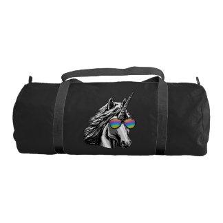 Cool unicorn with rainbow sunglasses gym bag