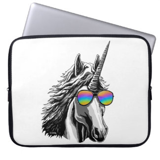 Cool unicorn with rainbow sunglasses laptop sleeve