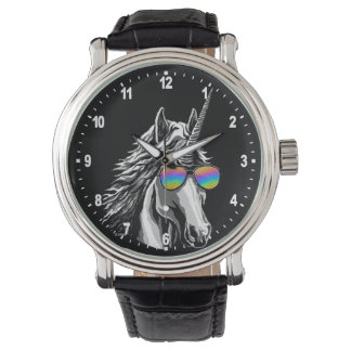 Cool unicorn with rainbow sunglasses wristwatch