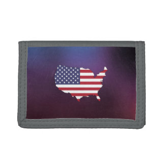 Cool United States Flag Map Tri-fold Wallet