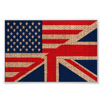Cool usa union jack flags burlap texture effects photo print