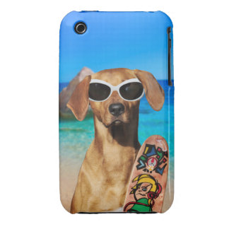 Cool vacation surfer dog, Rhodesian Ridgeback Case-Mate iPhone 3 Cases