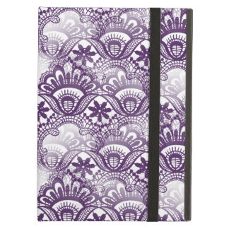 Cool Vibrant Distressed Purple Lace Damask Pattern iPad Air Cover
