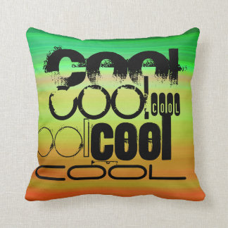 Cool; Vibrant Green, Orange, & Yellow Throw Pillow