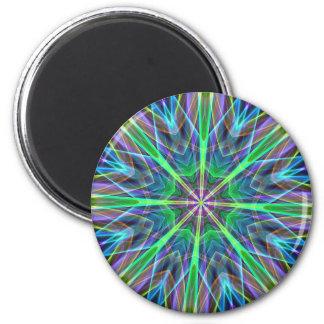 Cool Vibrant Neon Pastel Aura Mandela 2 Inch Round Magnet