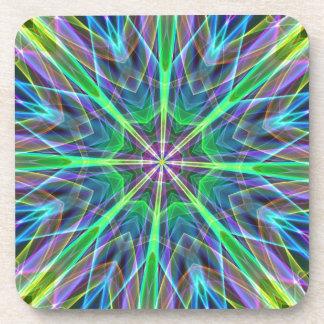 Cool Vibrant Neon Pastel Aura Mandela Drink Coasters