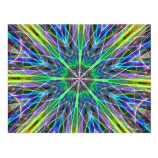 Cool Vibrant Neon Pastel Aura Mandela Postcard