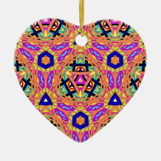 Cool Vibrant Pastel Festive Pattern Ceramic Heart Ornament