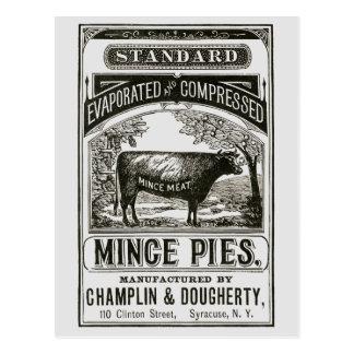 Cool Victorian Meat Pie Advert Postcard