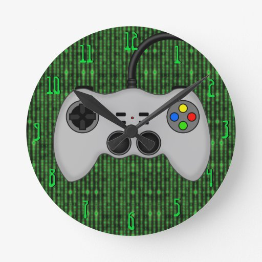 Cool Video Game Controller Vector in Grey Round Wall Clock