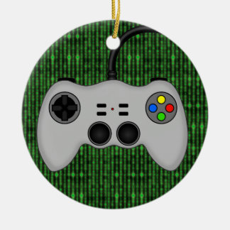Cool Video Game Controller Vector in Grey Round Ceramic Ornament