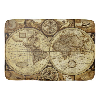 Cool Vintage and antique old world maps Bath Mat