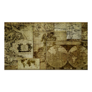 Cool Vintage and antique old world maps Poster