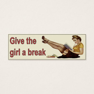 Cool Vintage Bookmark Card with Sweet Girl Reading