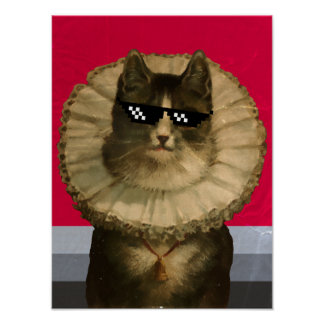 Cool vintage cat in sunglasses poster