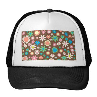 cool vintage Floral Flowery Retro Funky pattern Trucker Hat