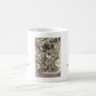 Cool vintage japanese demon samurai fight tattoo coffee mug