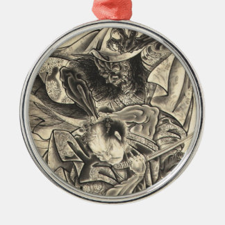 Cool vintage japanese demon samurai fight tattoo Silver-Colored round ornament