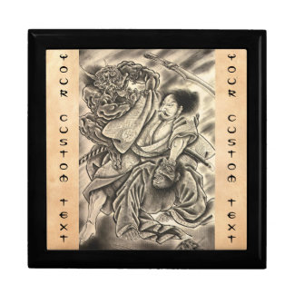 Cool vintage japanese samurai demon fight tattoo gift boxes