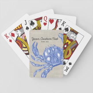 Cool Vintage Nautical Blue Crab Custom Beach Playing Cards