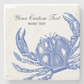 Cool Vintage Nautical Blue Crab Custom Beach Stone Coaster