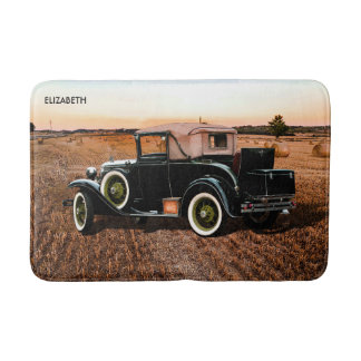 Cool Vintage Retro Car In Pink And Black Bath Mat