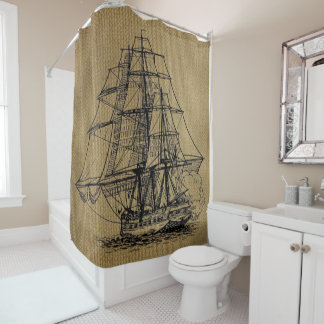Cool Vintage Ship on faux burlap