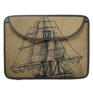 Cool Vintage Ship on faux burlap Sleeve For MacBook Pro