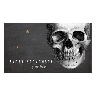 Cool Vintage Skull Etching Black Pack Of Standard Business Cards