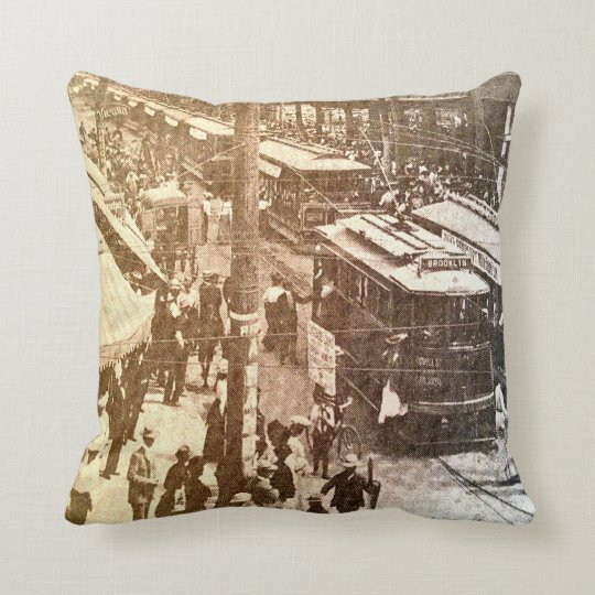 Cool vintage streetcar city street scene throw pillow